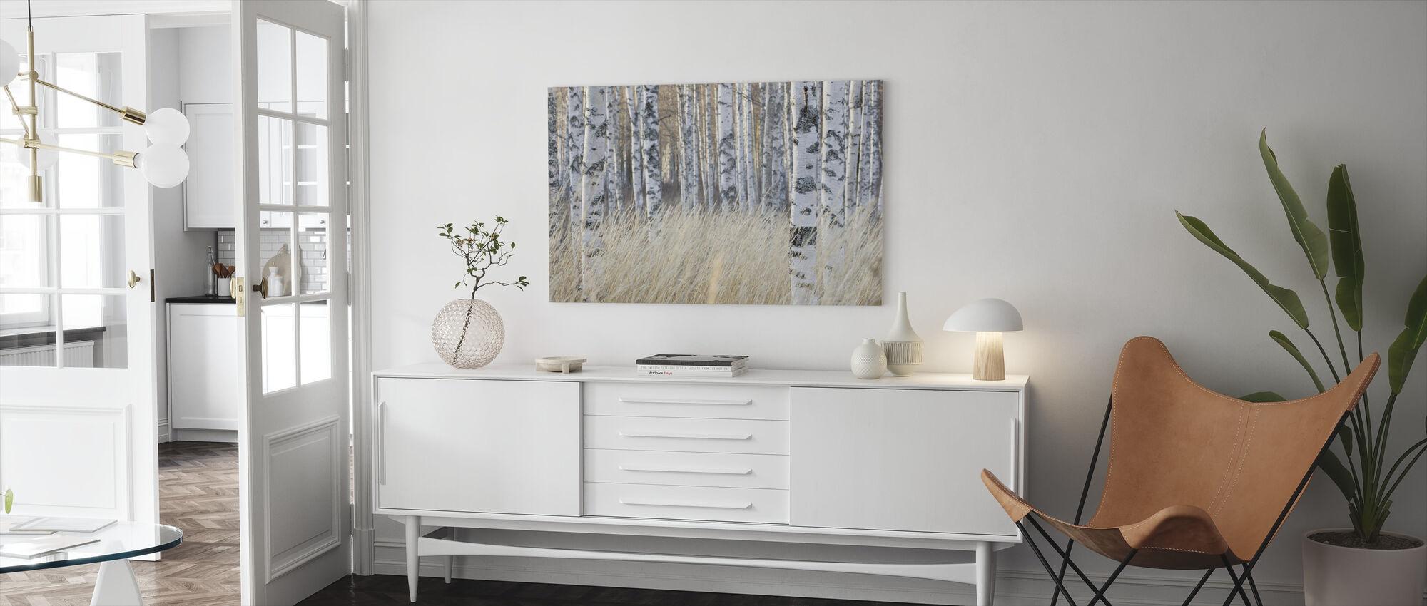 Lys Birkeskov - Billede på lærred - Stue