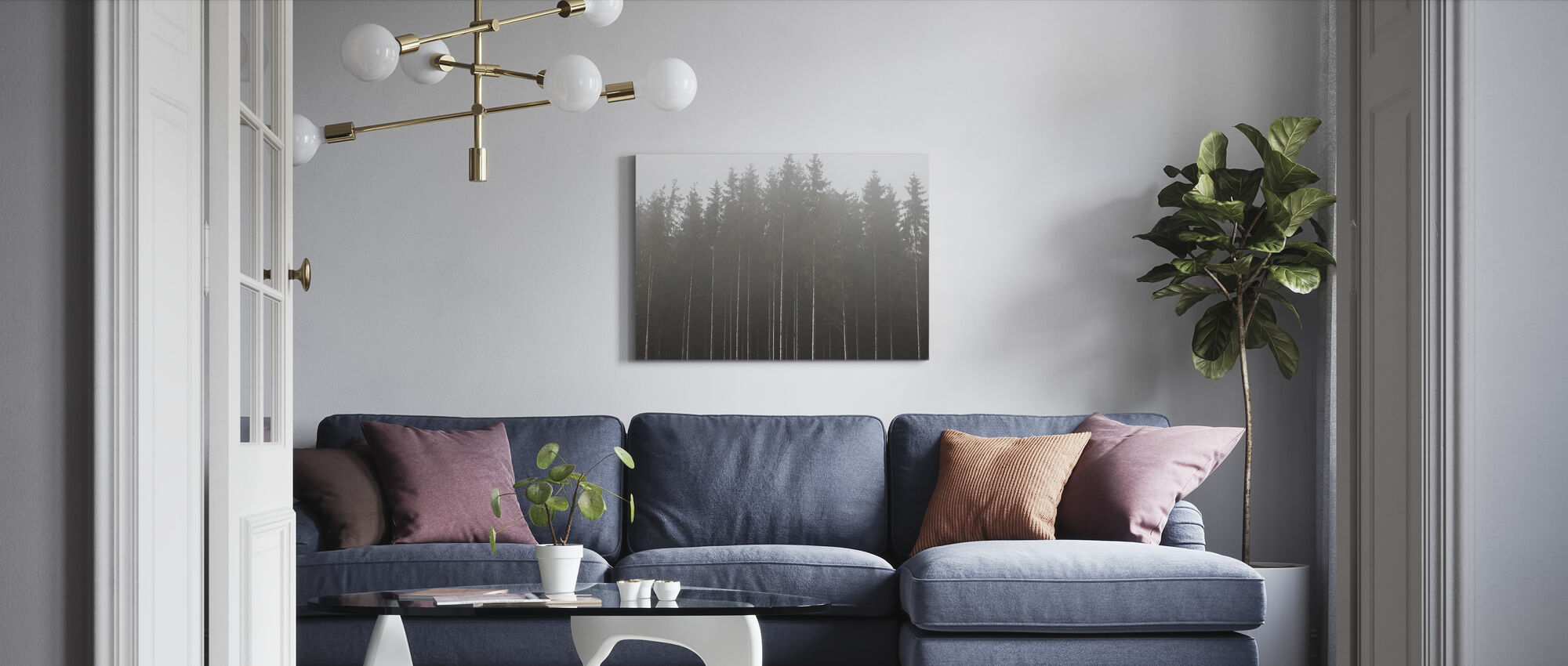 Misty Day in the Forest - Canvas print - Living Room