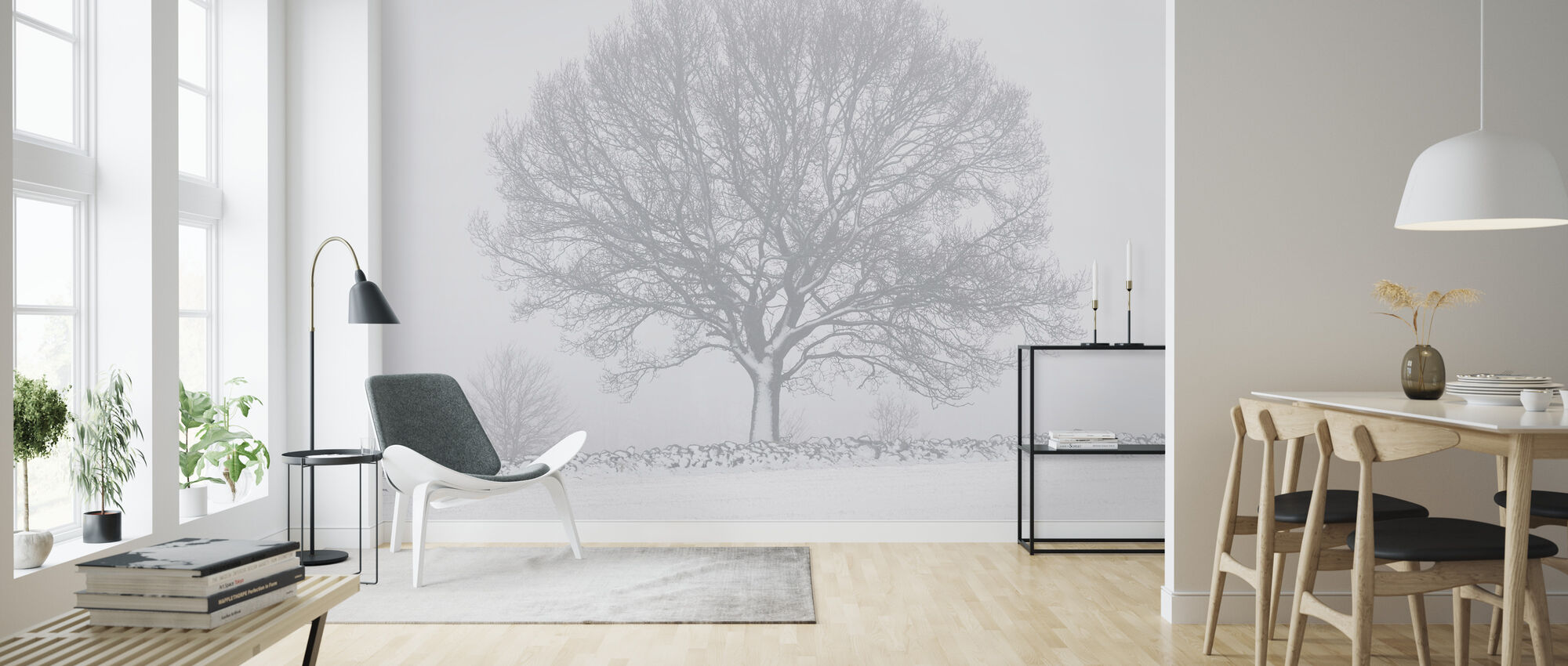 Winter Tree by Stone Wall - Wallpaper - Living Room