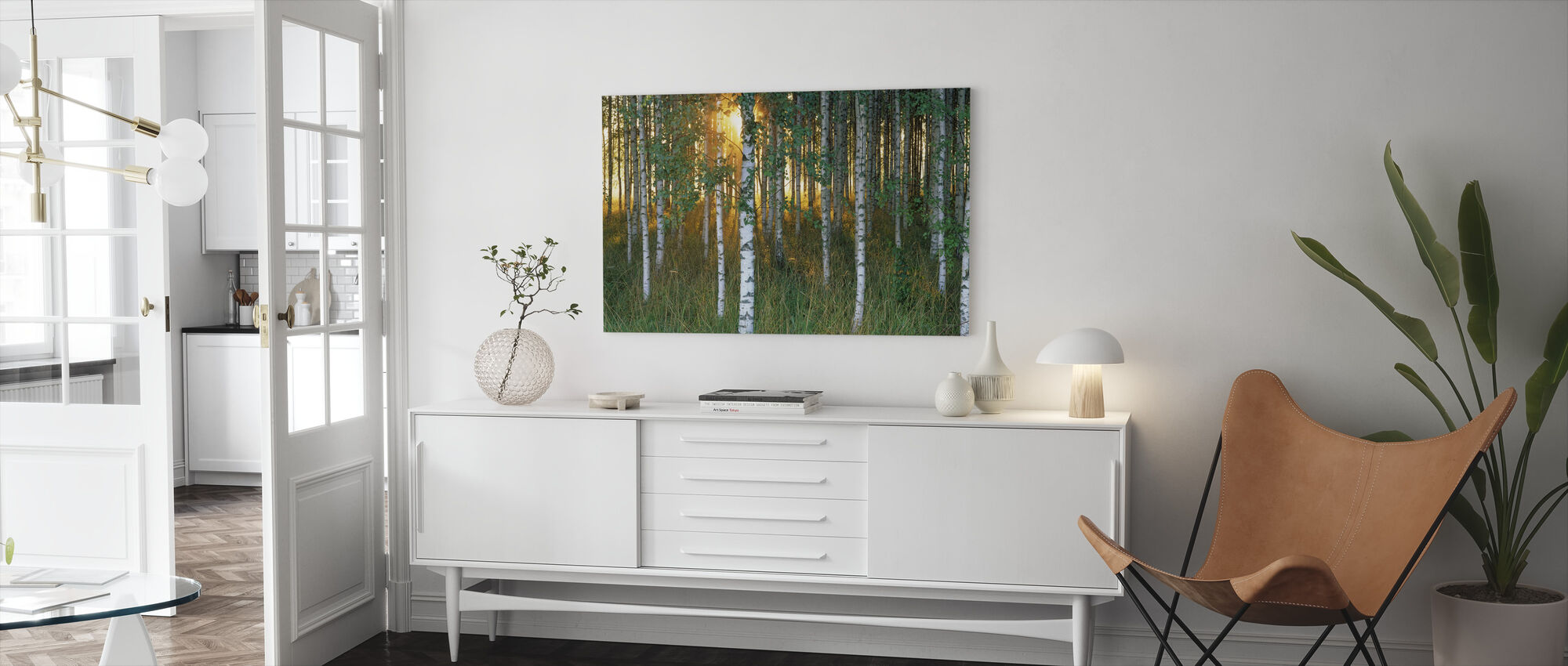Sunbeam through Birch Forest - Canvas print - Living Room