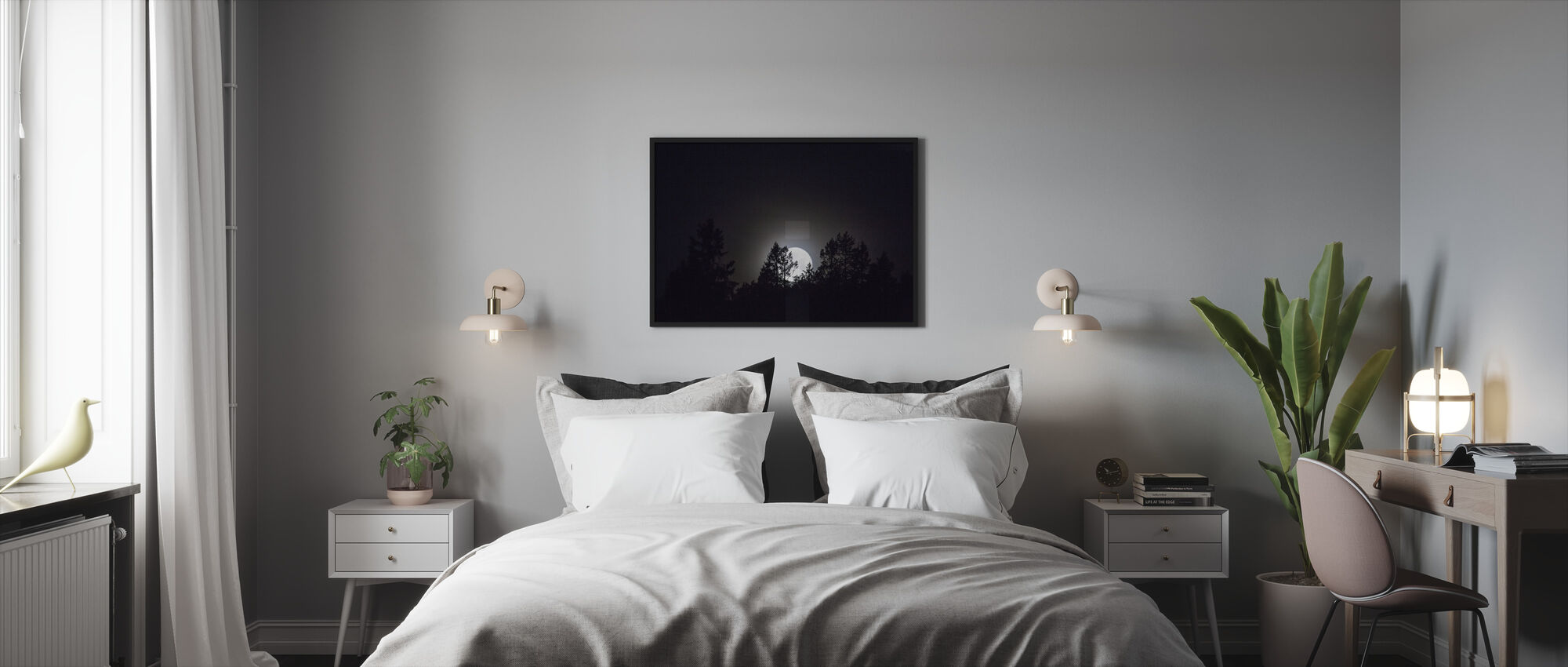 Moonlight over Medelpad, Sweden, Europe - Framed print - Bedroom