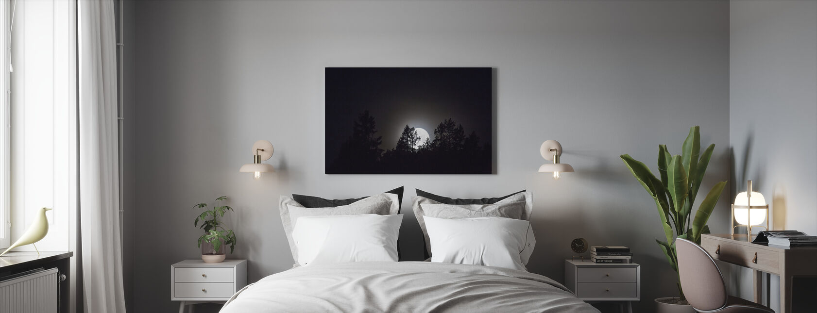 Moonlight over Medelpad, Sweden, Europe - Canvas print - Bedroom