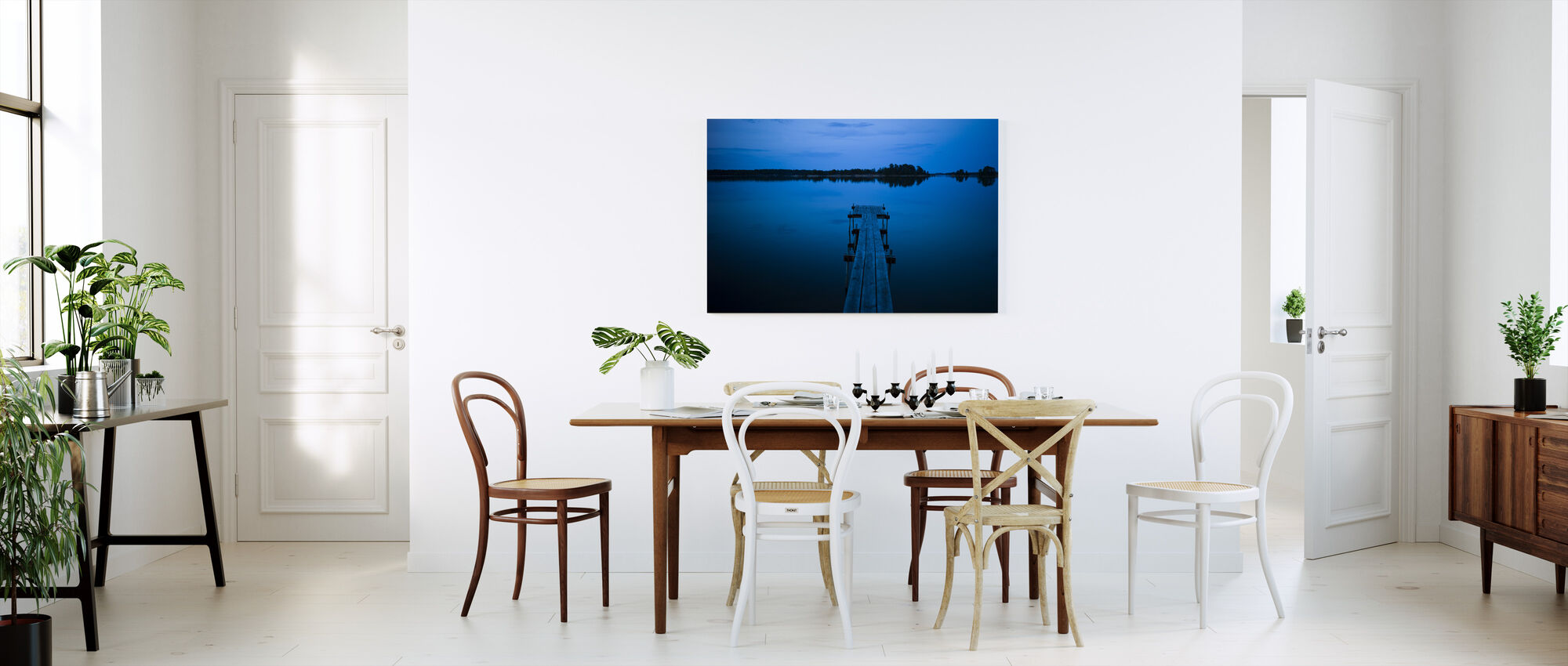 Puinen laituri iltahämärässä, Ruotsi - Canvastaulu - Keittiö