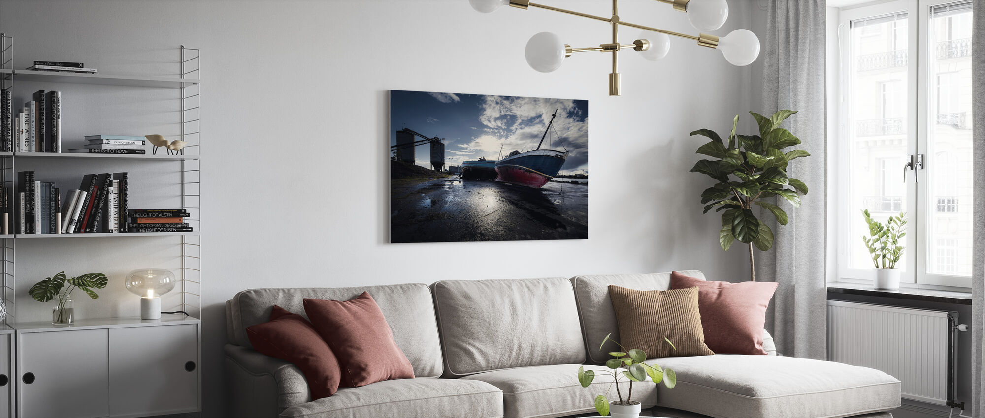 Stranded Boats in Malmö, Sweden - Canvas print - Living Room