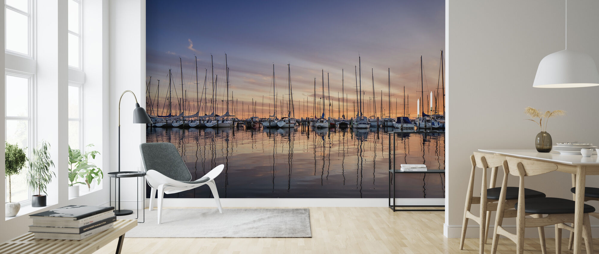 Sailboats in Sunset, Gothenburg Sweden - Wallpaper - Living Room