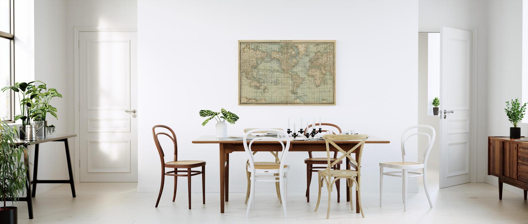 pale vintage world map designerbild auf baumwollgewebe. Black Bedroom Furniture Sets. Home Design Ideas