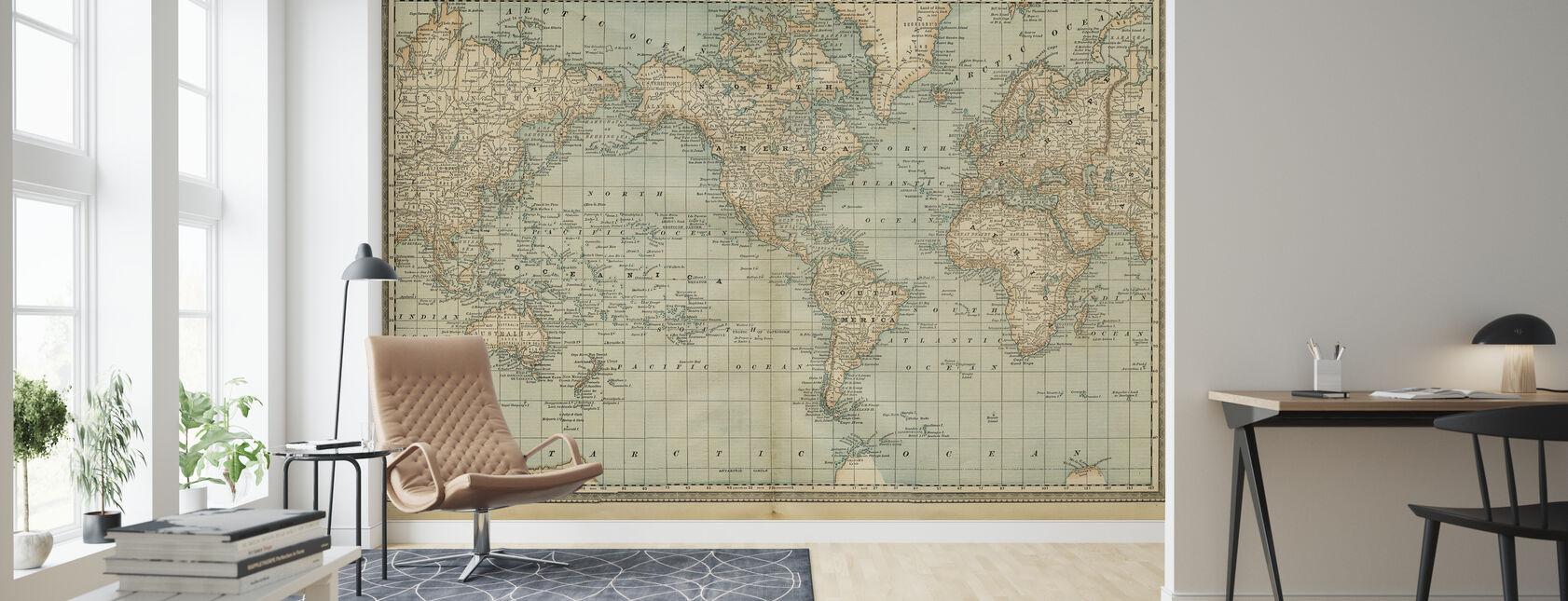 Pale Vintage Weltkarte - Tapete - Wohnzimmer