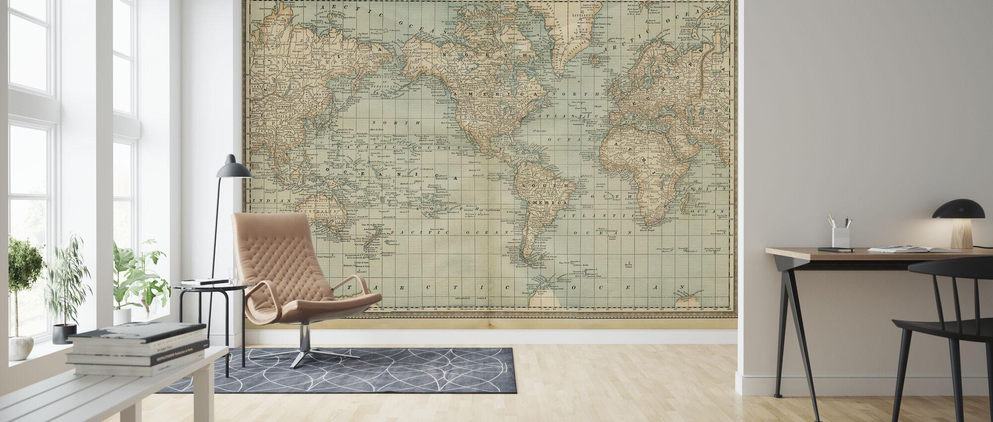 Pale Vintage World Map - Wallpaper - Living Room