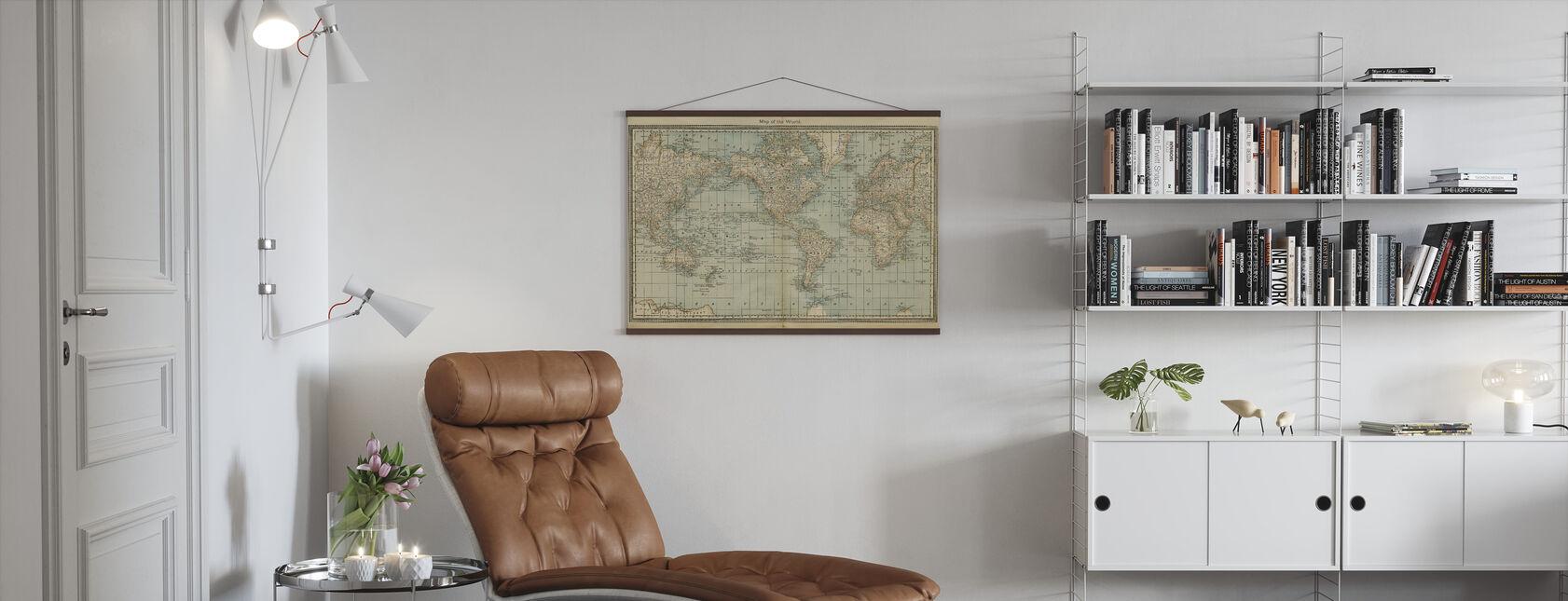 Pale Vintage Wereld Kaart - Poster - Woonkamer