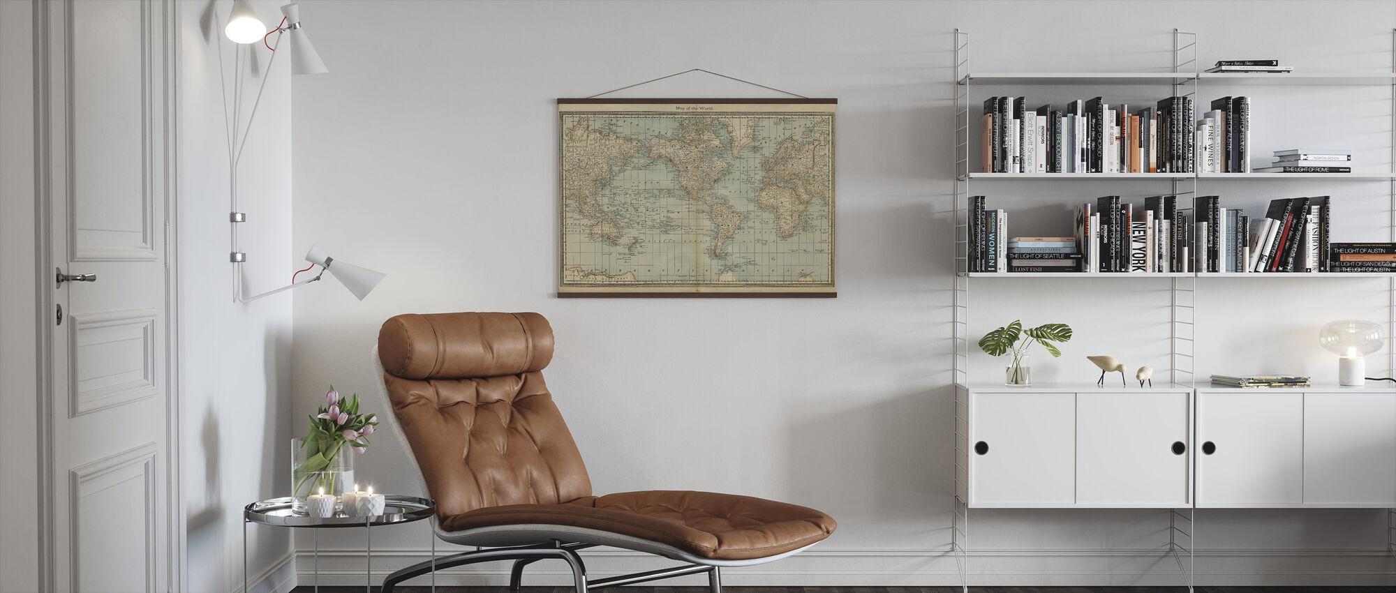 Pale Vintage World Kartta - Juliste - Olohuone