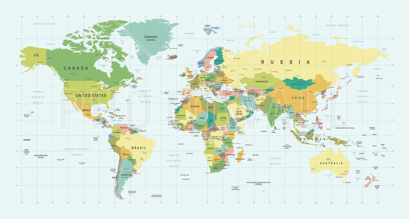 Political World Map - Bewegendes Poster - Photowall
