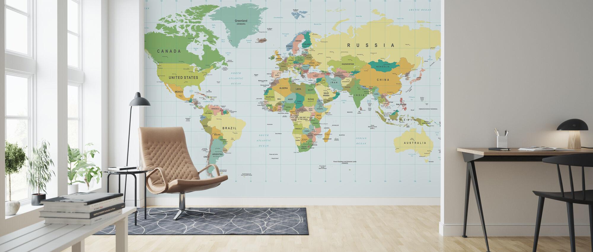 Politisk verdenskort - Tapet - Stue