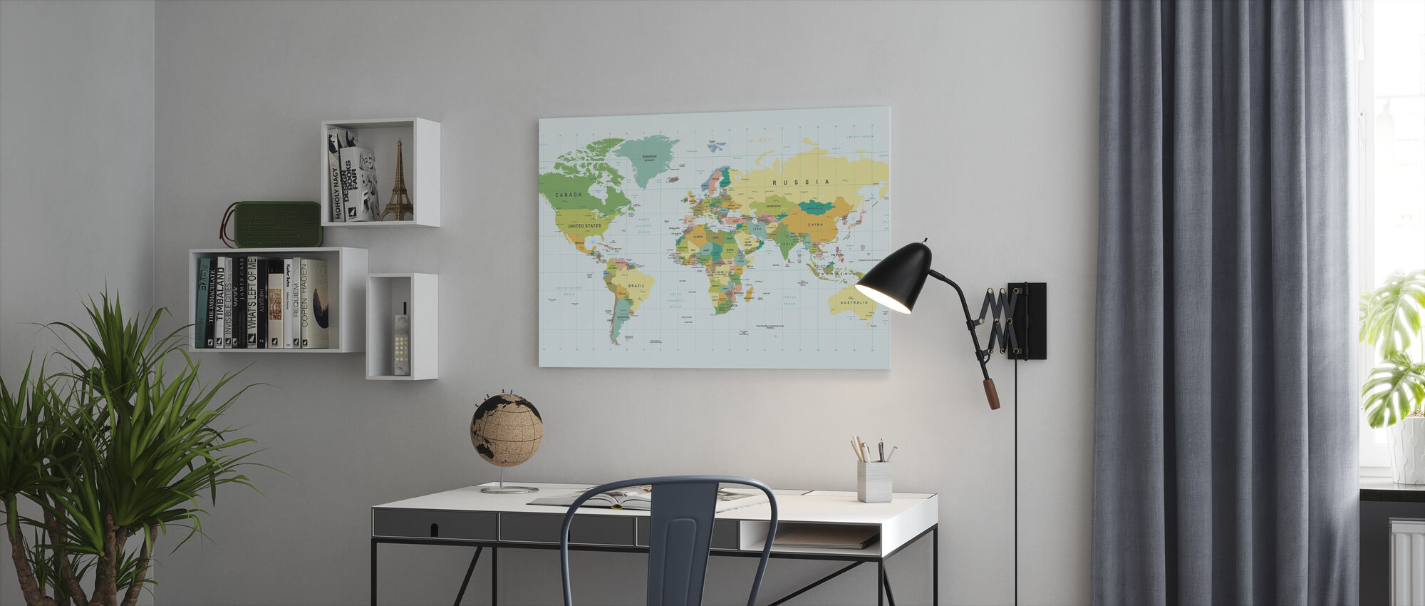 Political World Map - Canvas print - Office
