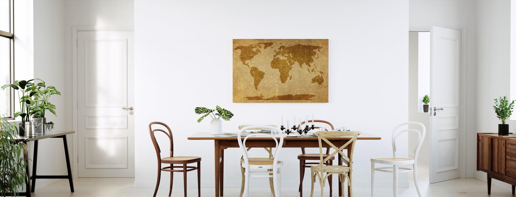 Sepia World Map - Canvas print - Kitchen