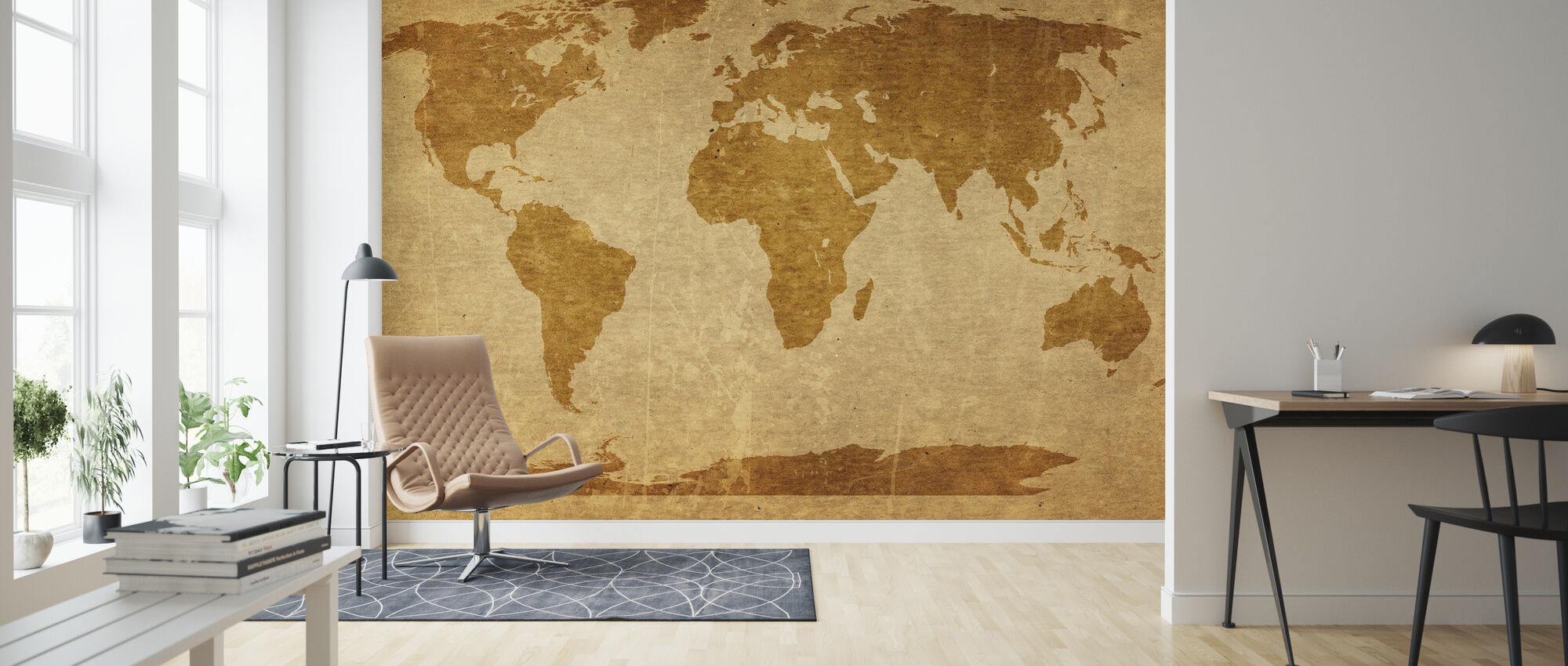Sepia World Map - Wallpaper - Living Room