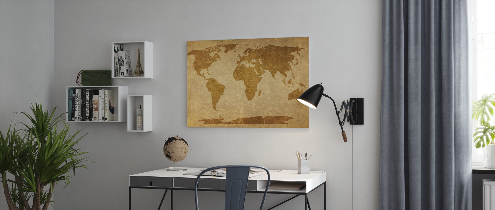 Sepia World Map - Canvas print - Office