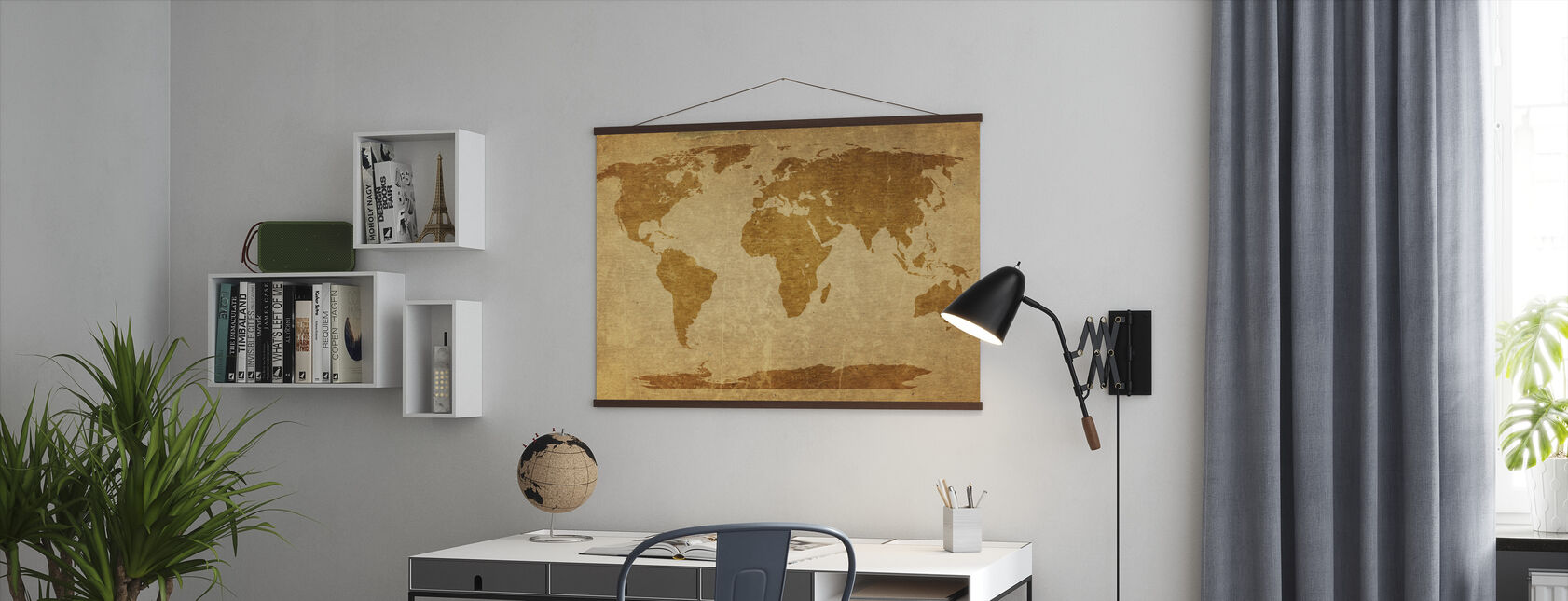 Sepia World Map - Poster - Office