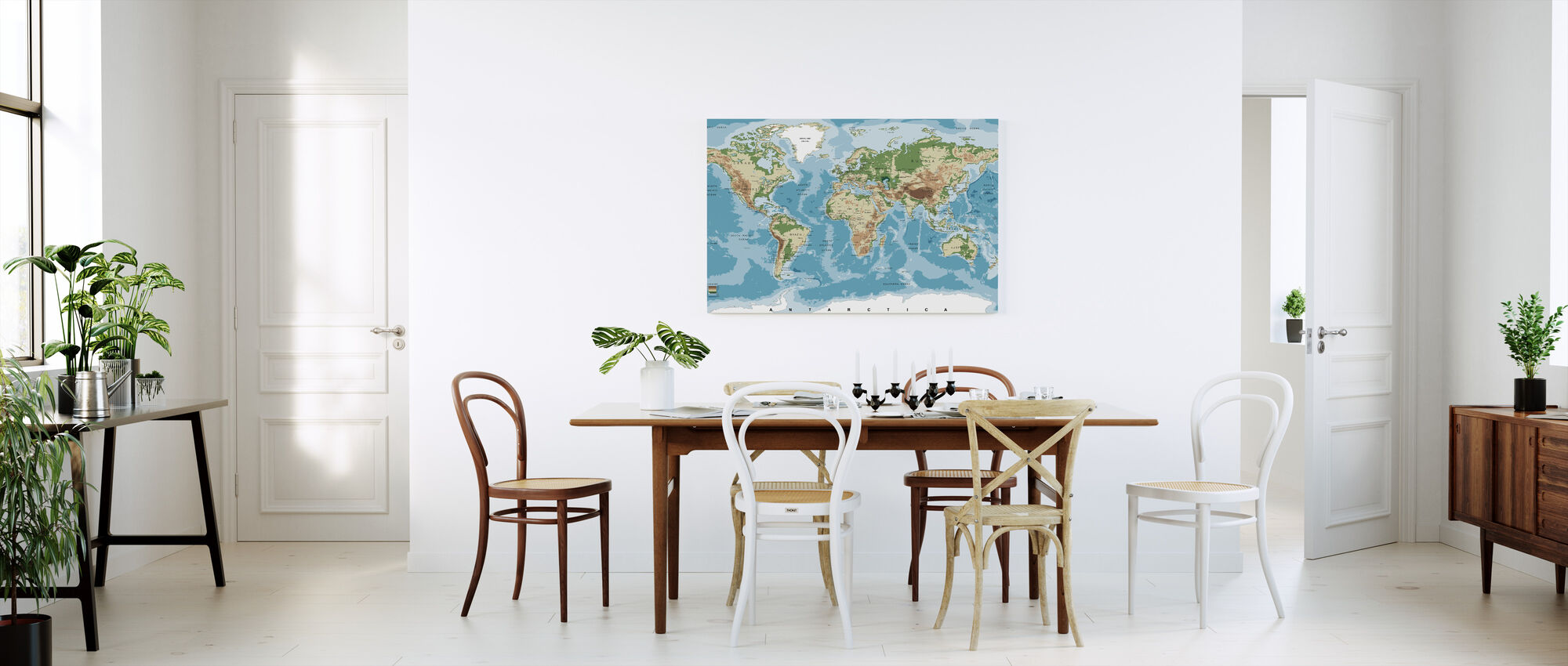 World Map with Elevation Tints - Canvas print - Kitchen