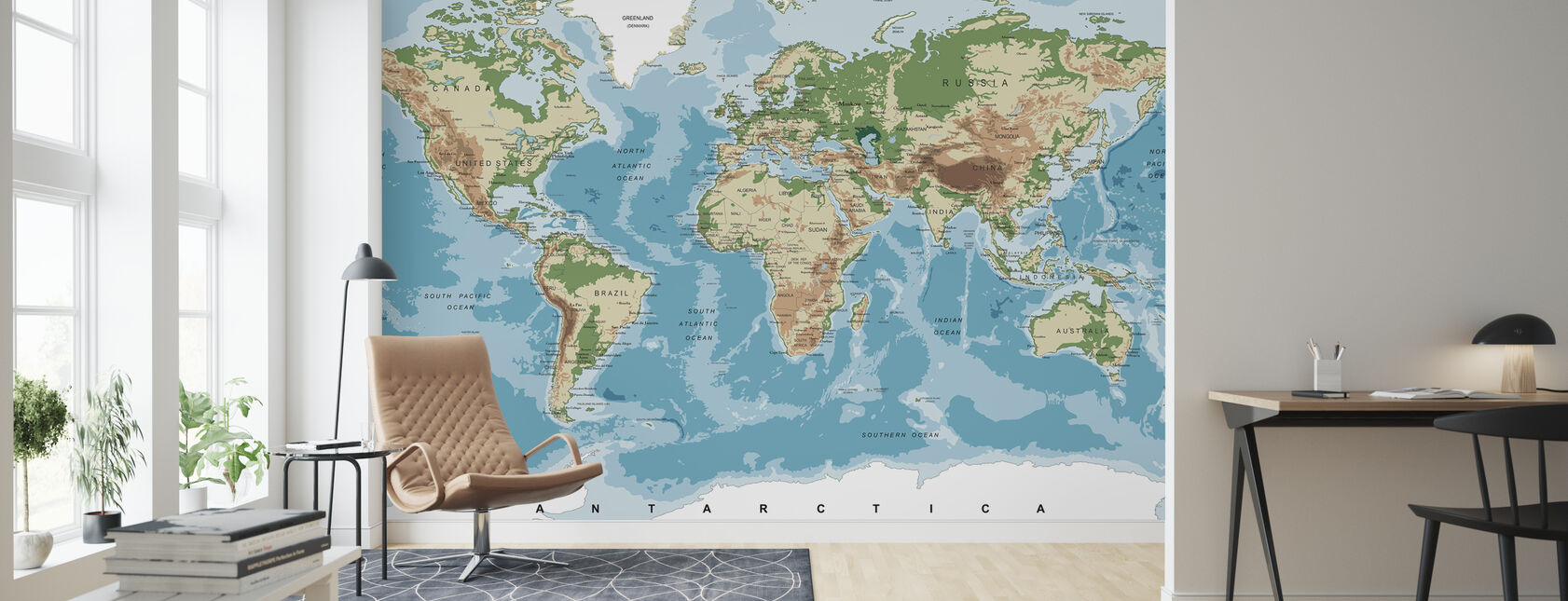 World Map with Elevation Tints - Wallpaper - Living Room