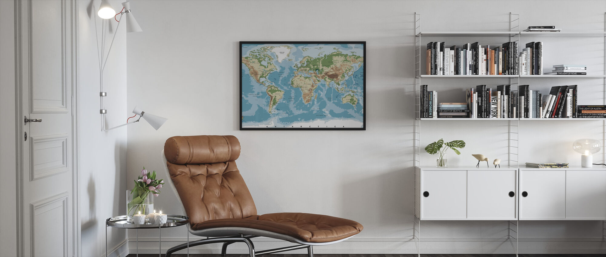 World Map with Elevation Tints - Framed print - Living Room