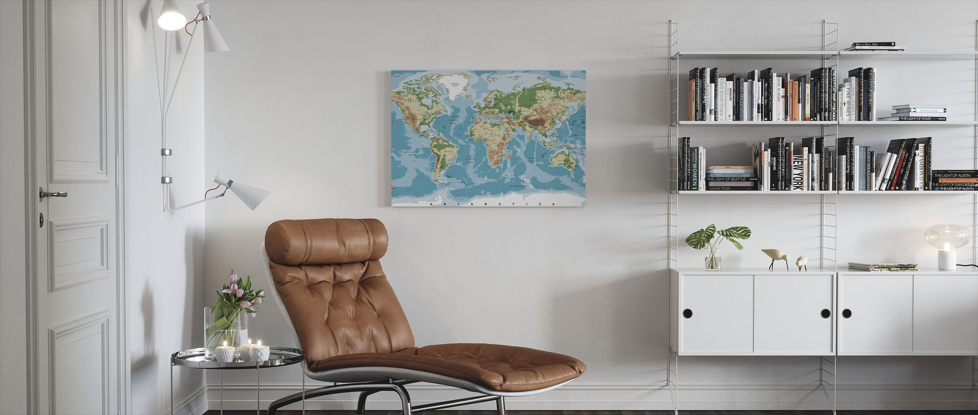 World Map with Elevation Tints - Canvas print - Living Room