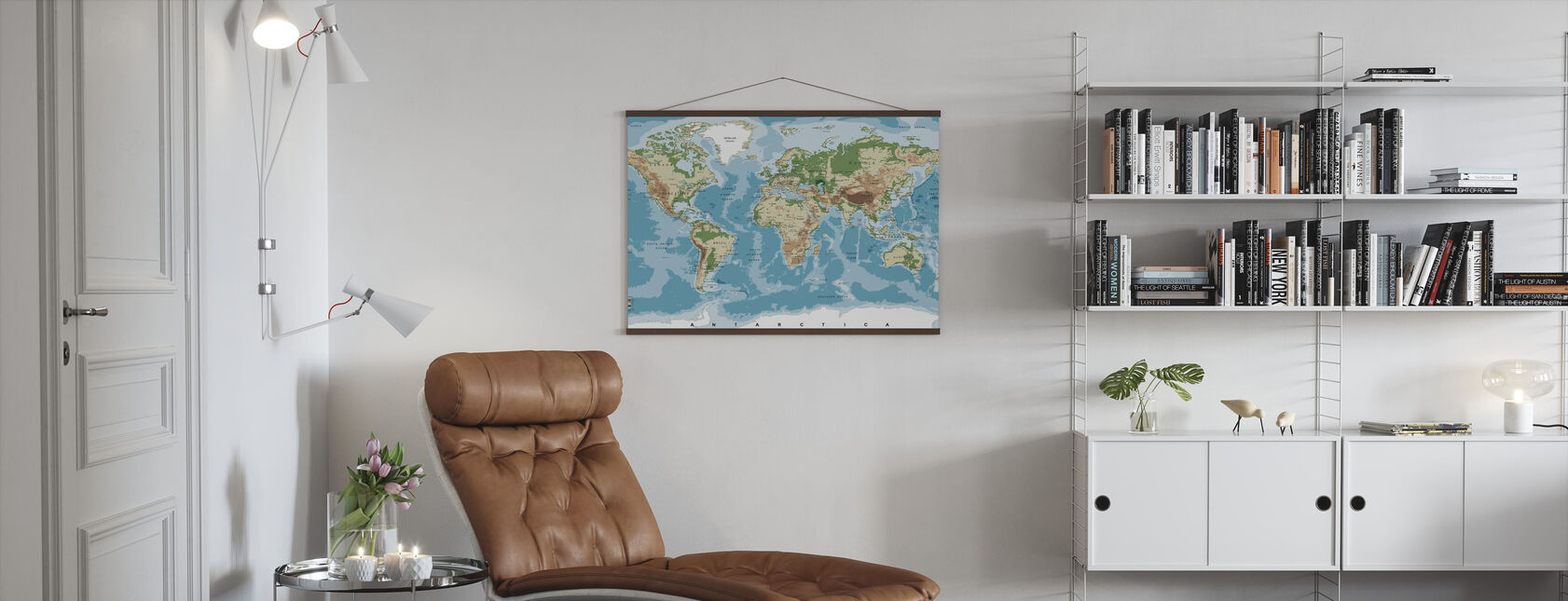 World Map with Elevation Tints - Poster - Living Room