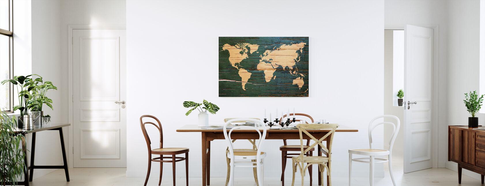 Carte du monde sur le mur en bois - Impression sur toile - Cuisine