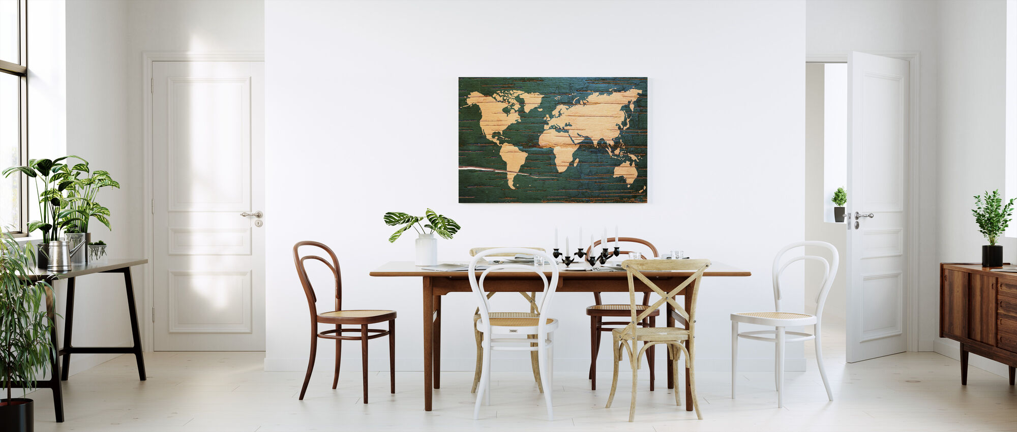 World Map on Wooden Wall - Canvas print - Kitchen