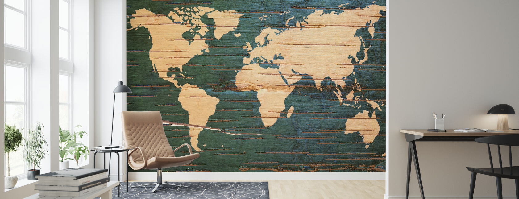 World Map on Wooden Wall - Wallpaper - Living Room