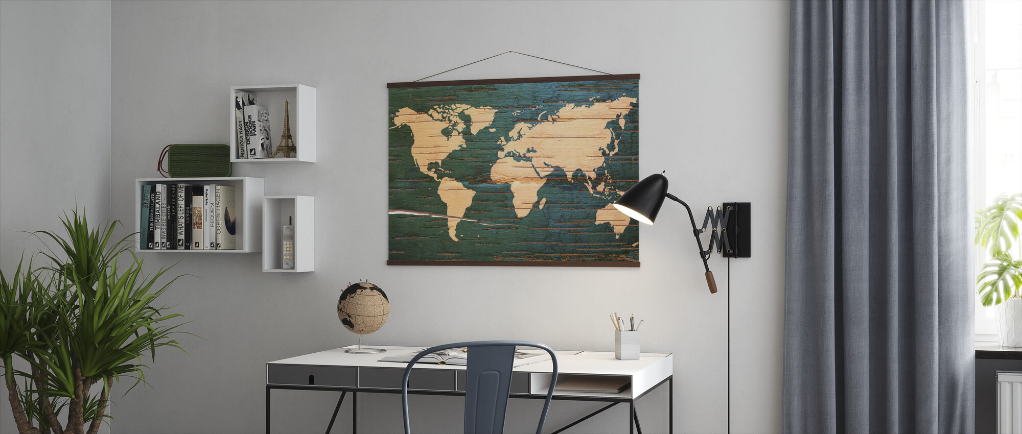 World Map on Wooden Wall - Poster - Office