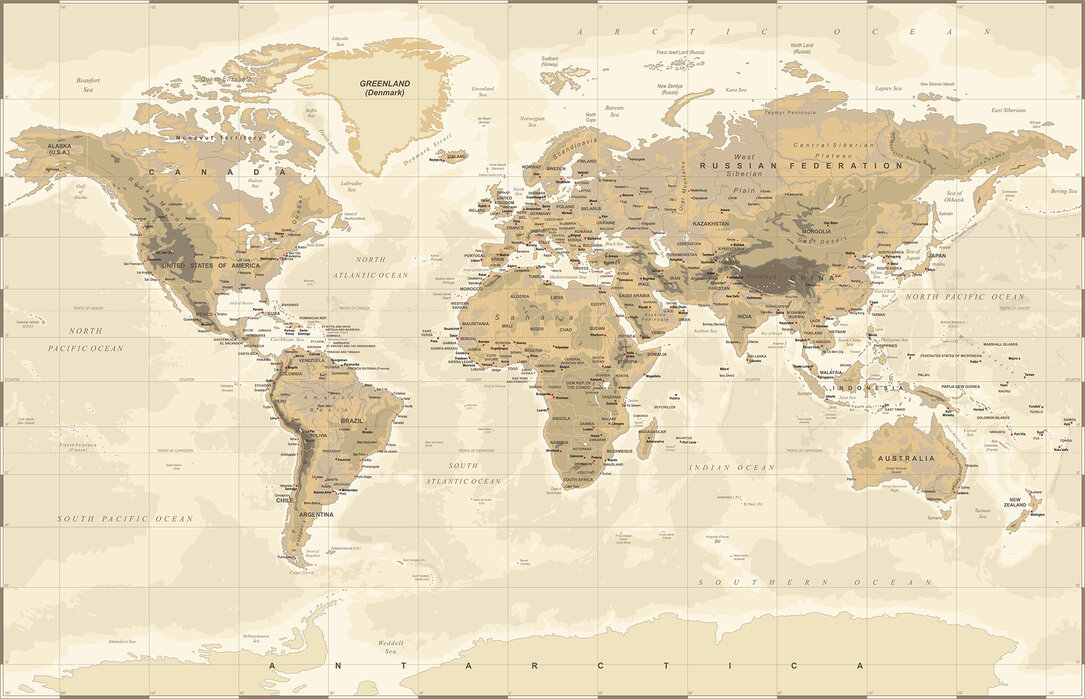 Beige and Green World Map – Beliebte Fototapete – Photowall