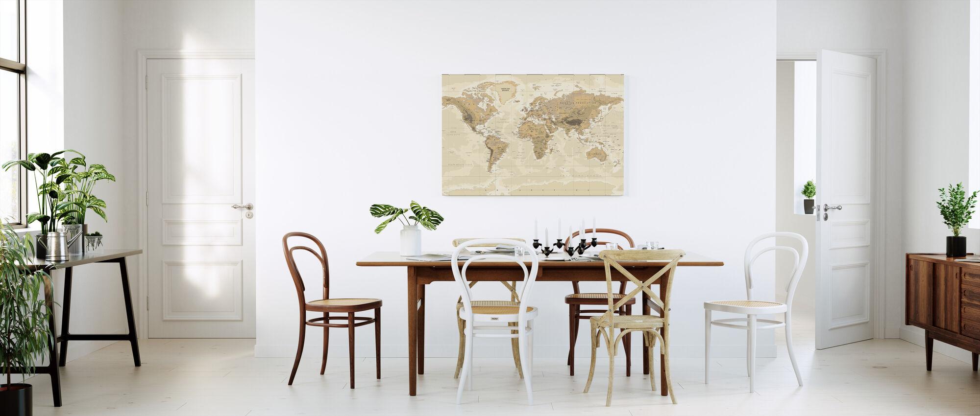 Carte du monde Beige et Vert - Impression sur toile - Cuisine