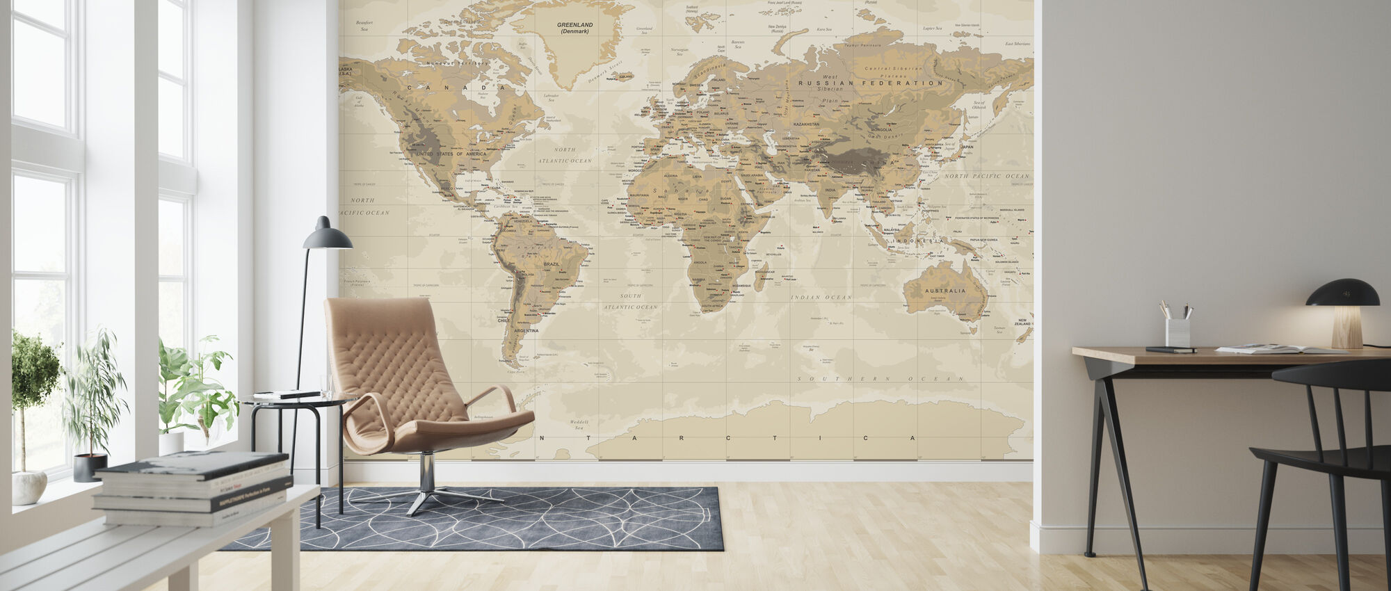 Beige and Green World Map - Wallpaper - Living Room