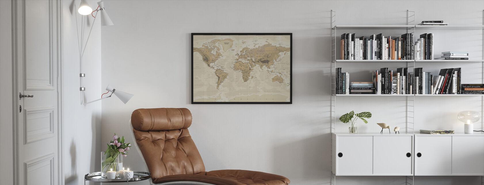 Beige ja vihreä maailmankartta - Kehystetty kuva - Olohuone