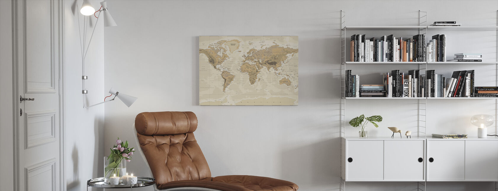 Beige und Grüne Weltkarte - Leinwandbild - Wohnzimmer