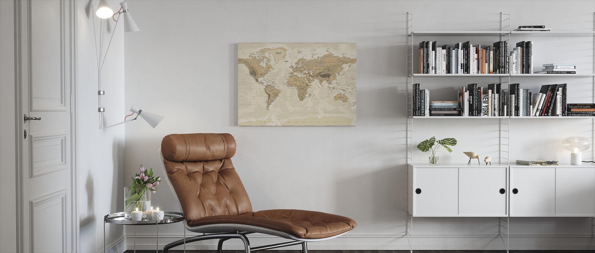 Beige och Grön världskarta - Canvastavla - Vardagsrum