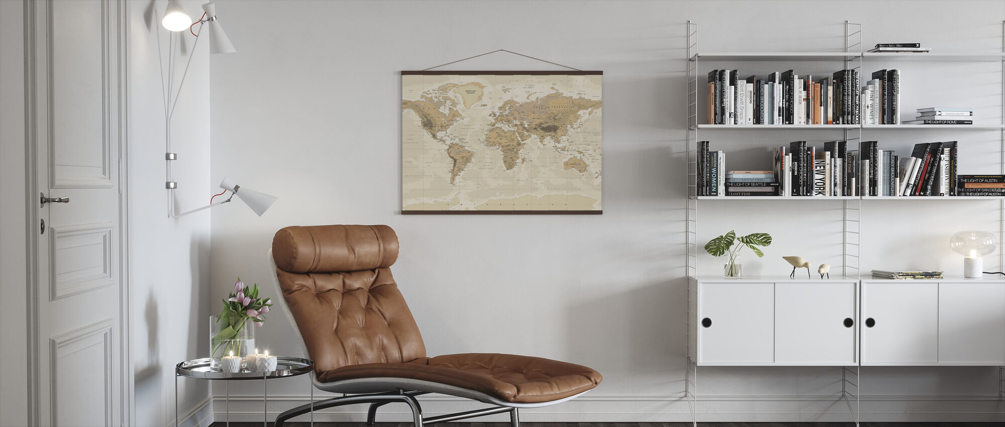 Beige and Green World Map - Poster - Living Room