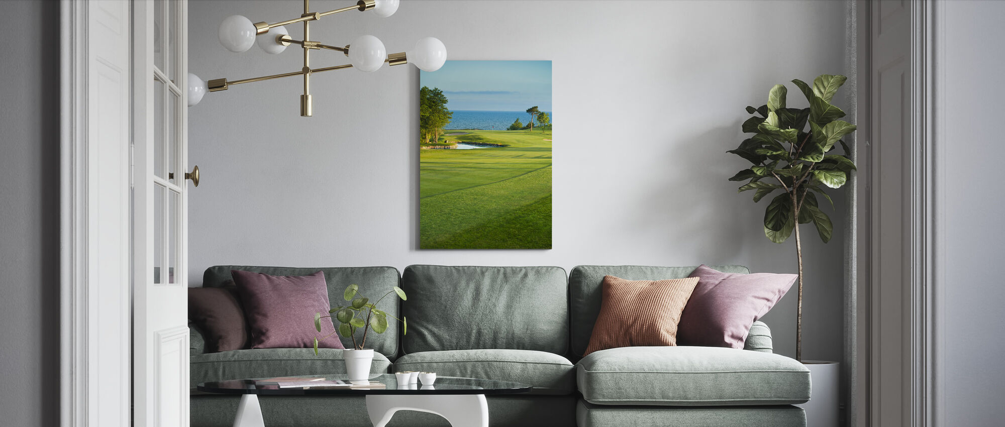 Golfbana i Stora Lund, Sverige - Canvastavla - Vardagsrum