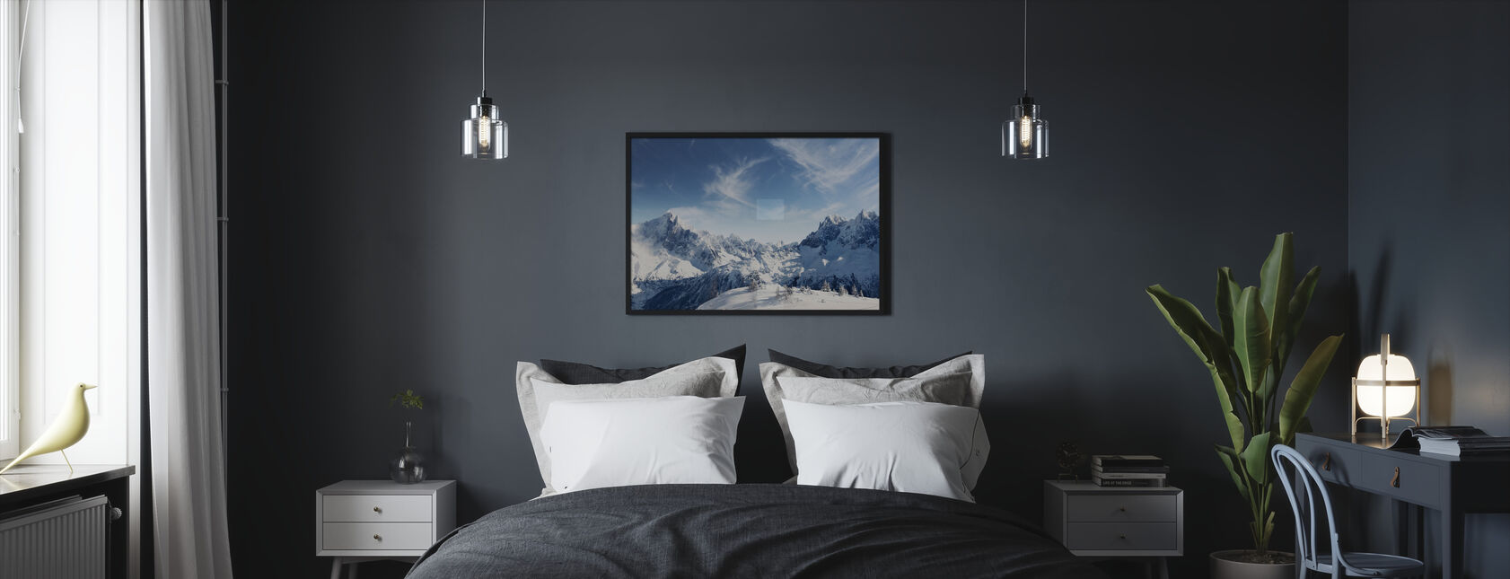 Sunny Alps in Chamonix - Framed print - Bedroom