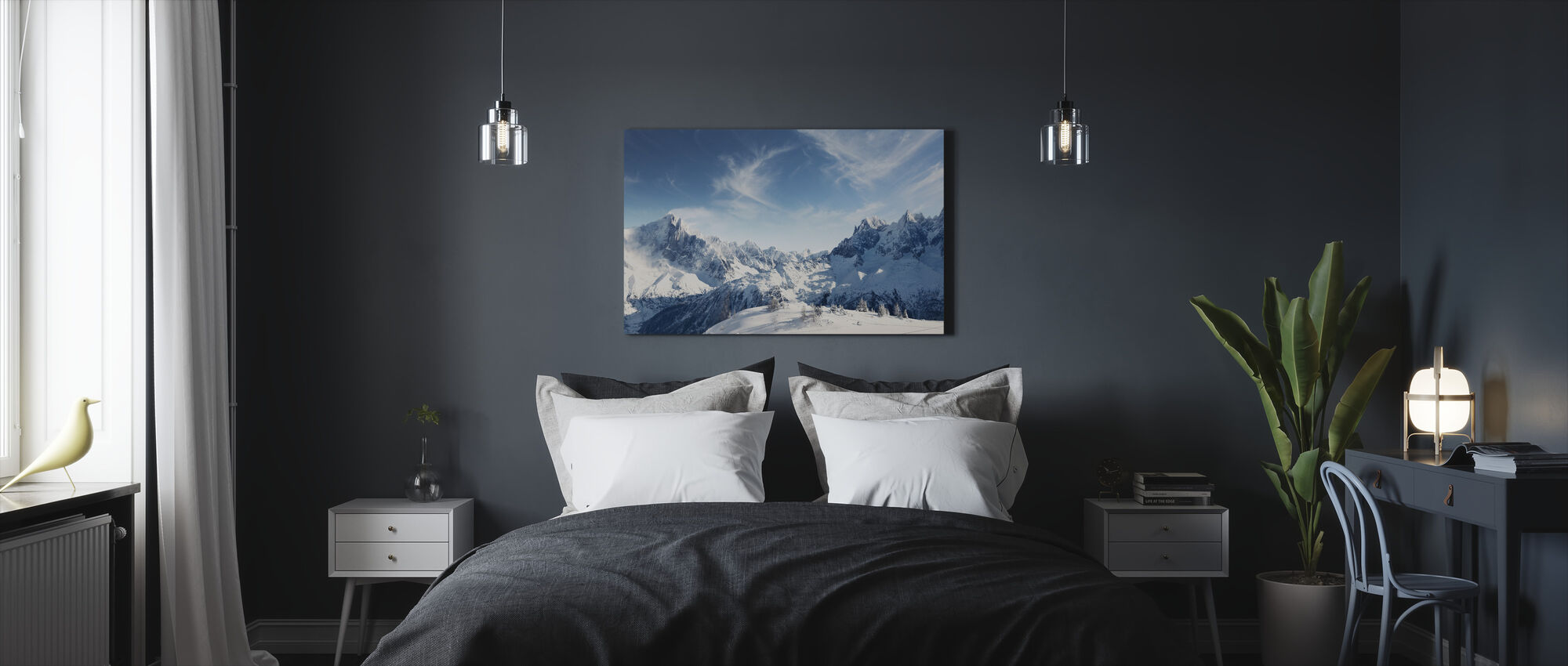 Sunny Alps in Chamonix - Canvas print - Bedroom