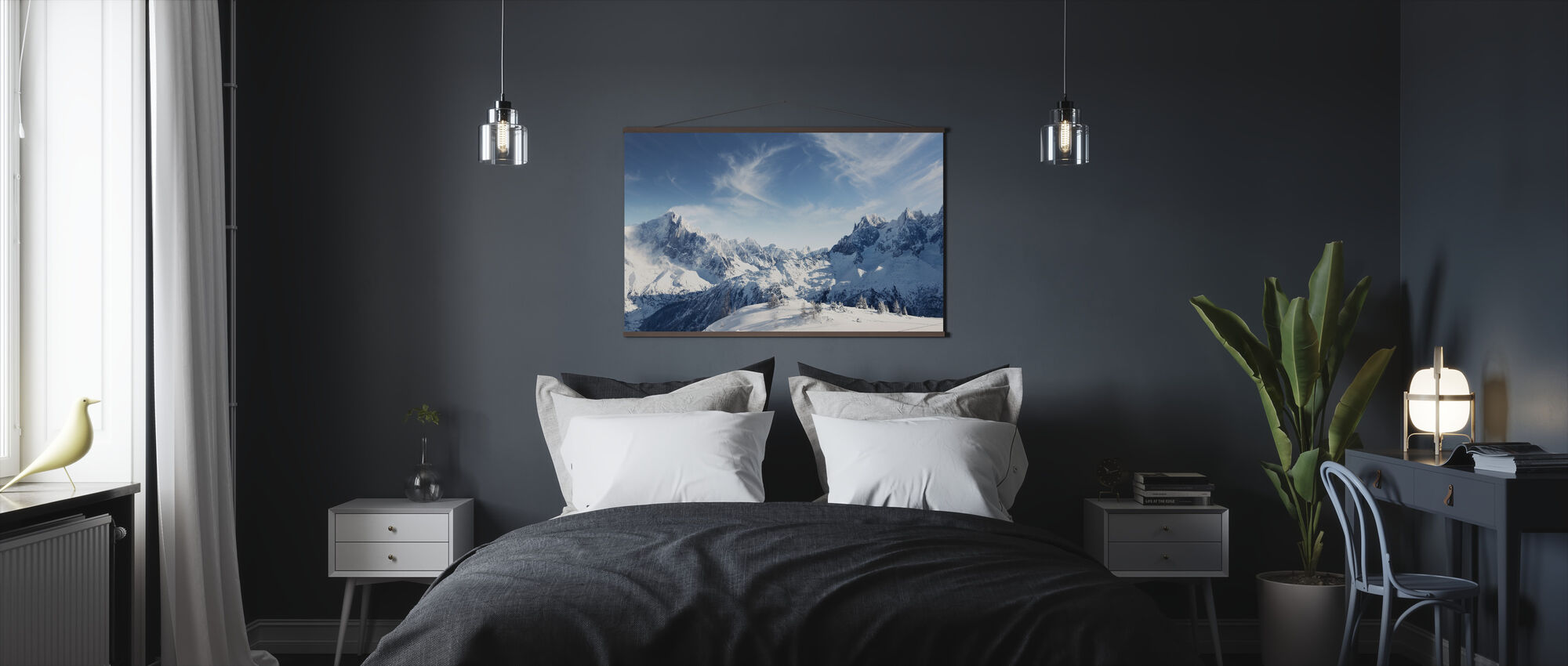 Zonnige Alpen in Chamonix - Poster - Slaapkamer