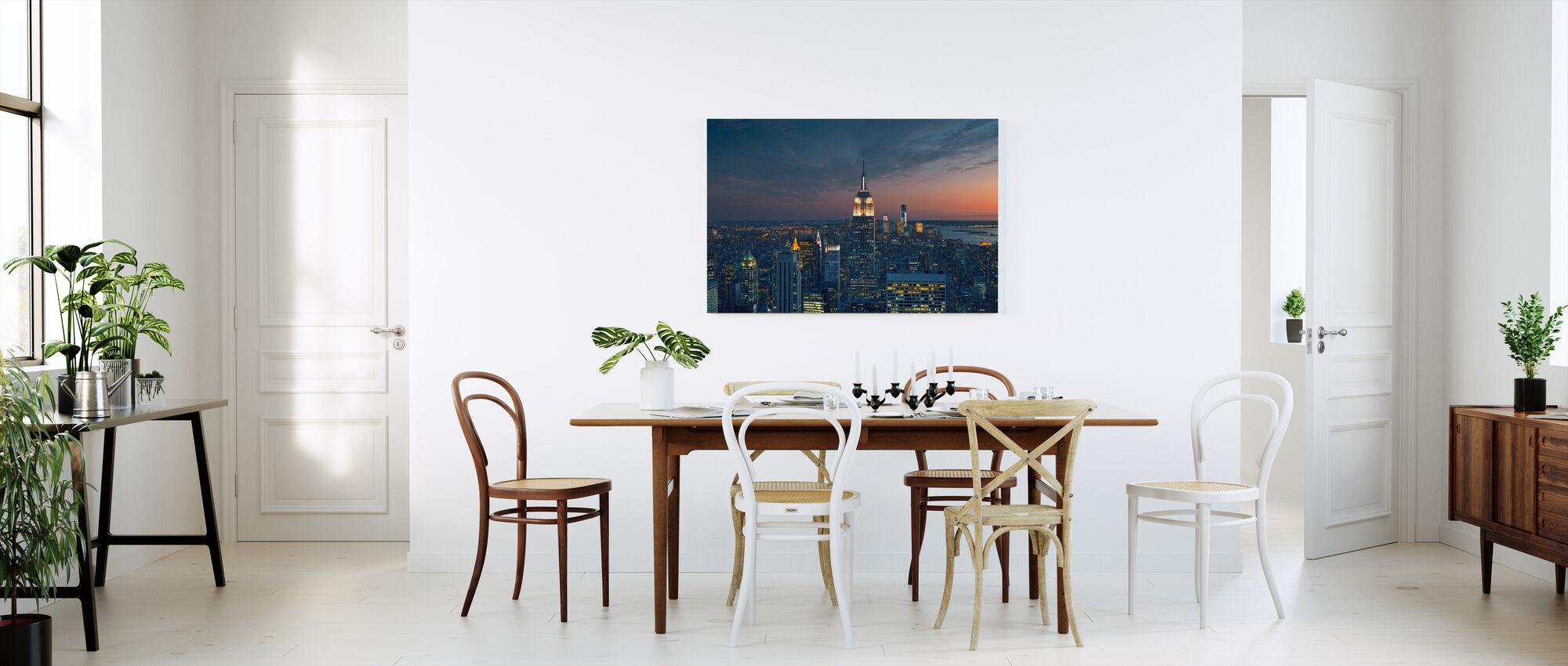 Luchtfoto van Manhattan bij zonsondergang - Canvas print - Keuken
