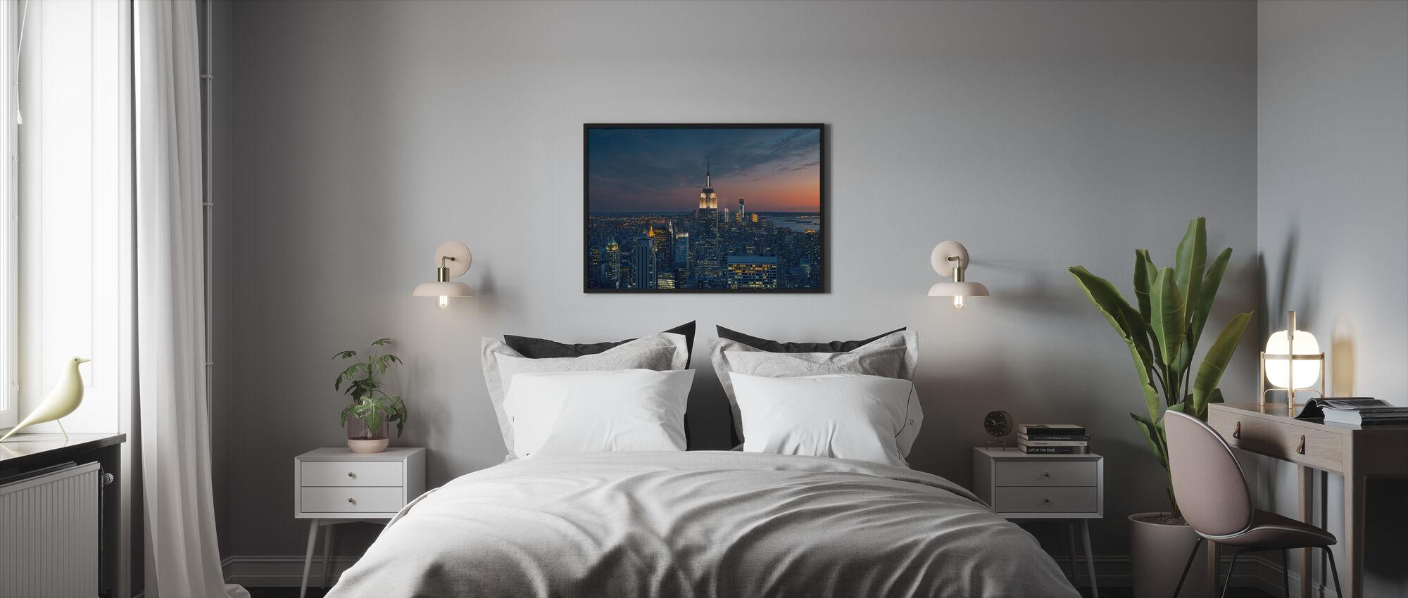 Ilmakuva Manhattanista Sunset - Kehystetty kuva - Makuuhuone