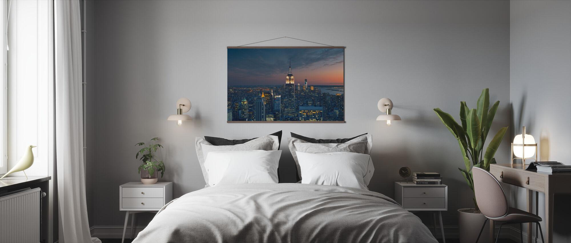 Flyfoto på Manhattan på Sunset - Plakat - Soverom