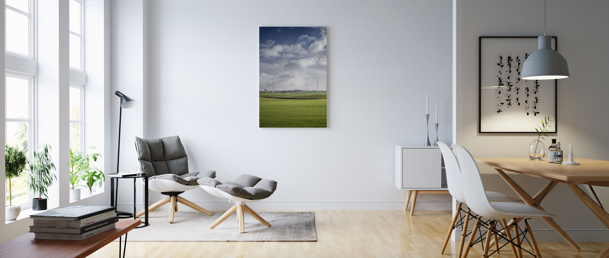 Windmill in Green Fields of Skåne, Sweden - Canvas print - Living Room