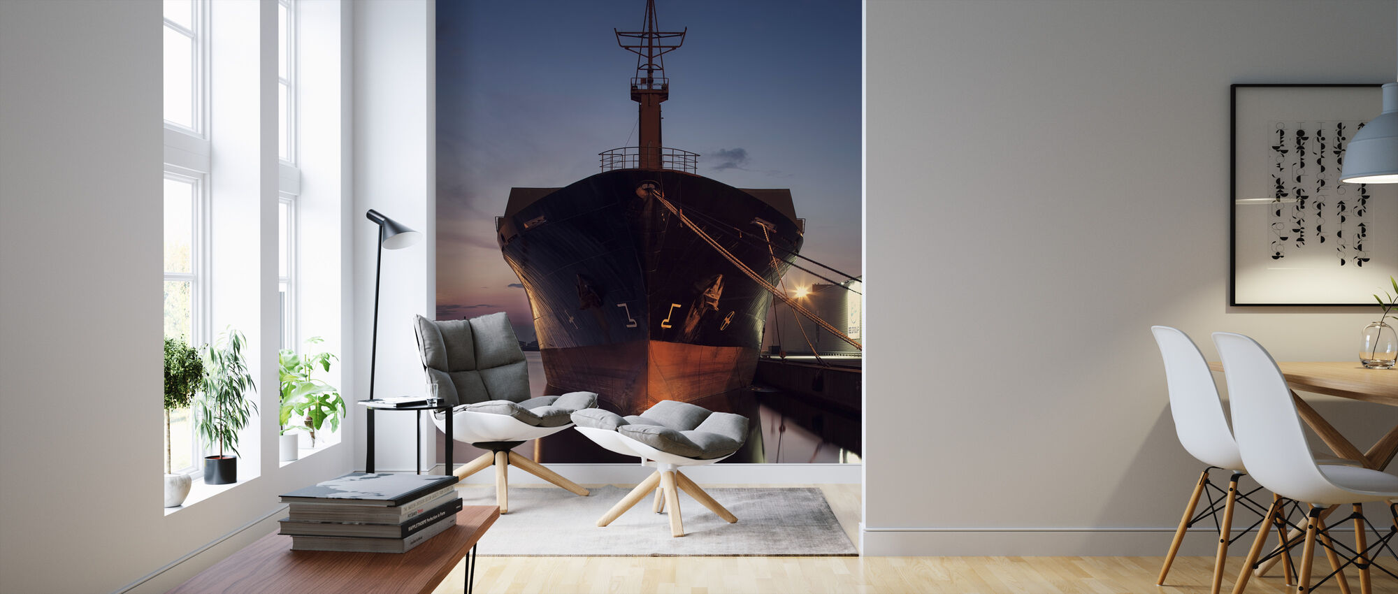 Ship in Eastern Harbor, Malmö Sweden - Wallpaper - Living Room