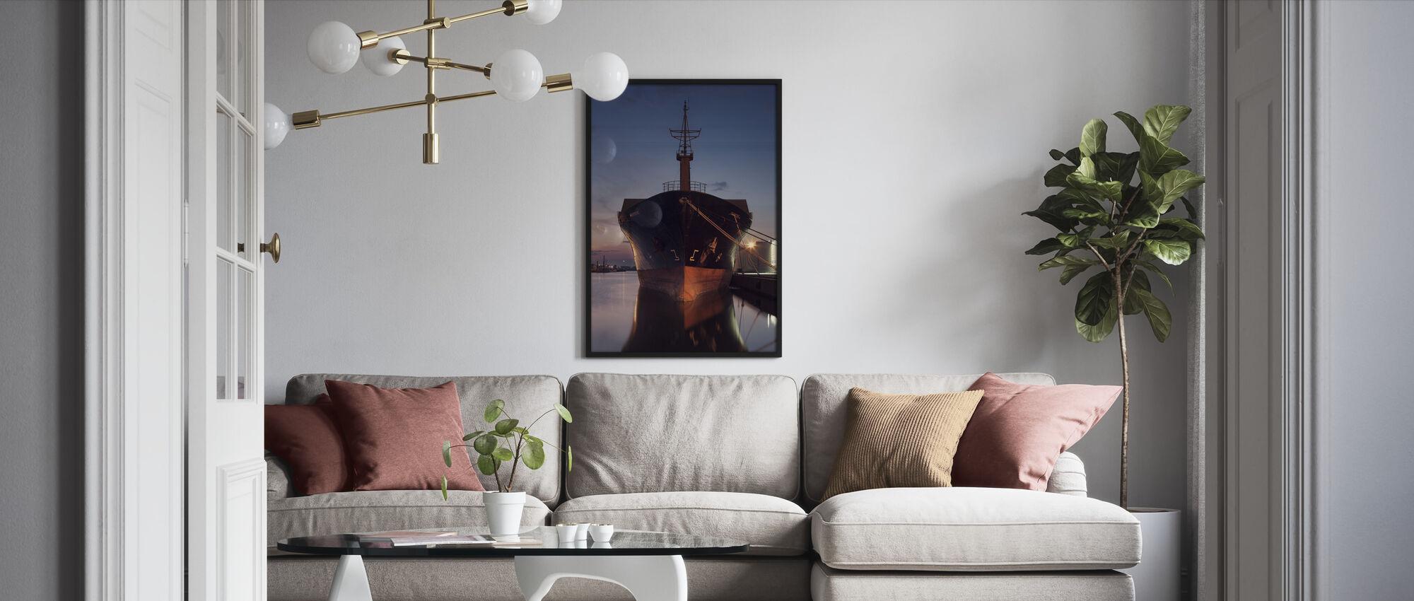 Ship in Eastern Harbor, Malmö Sweden - Framed print - Living Room
