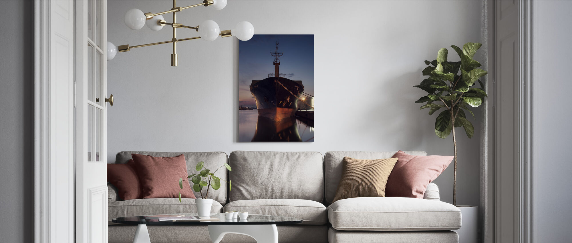 Ship in Eastern Harbor, Malmö Sweden - Canvas print - Living Room