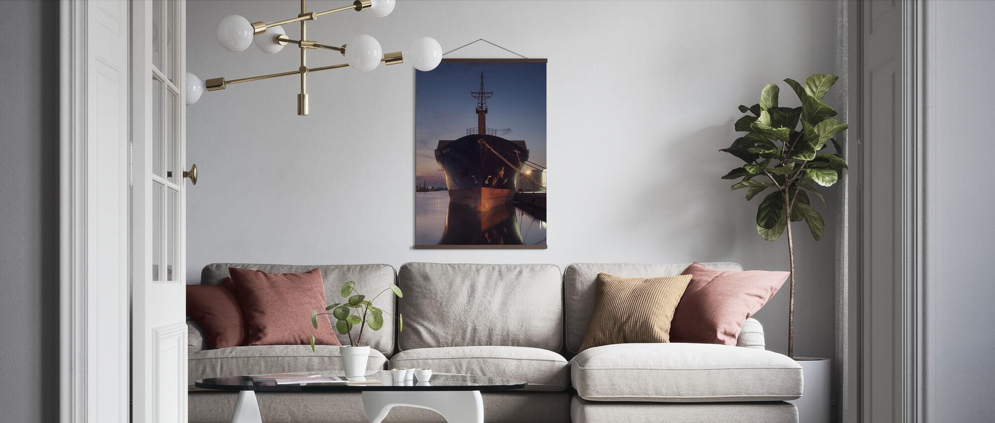 Ship in Eastern Harbor, Malmö Sweden - Poster - Living Room