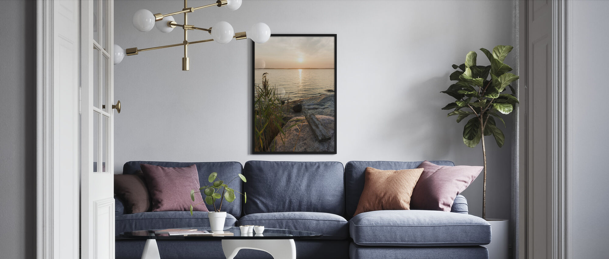 Sunset over Nässlingen, Sweden - Framed print - Living Room